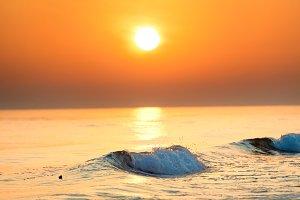Sunset or sunrise over sea