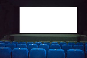 Empty movie cinema with raws of blue