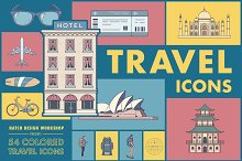 54 Colored Travel Icons by  in Icons