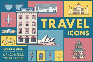 54 Colored Travel Icons