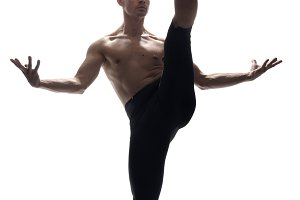 front view, one young man, ballet da
