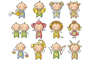 Set of zodiac signs as little babies