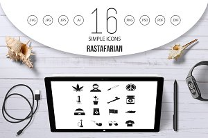 Rastafarian icons set, simple style