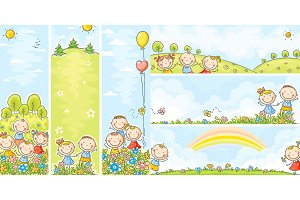 Vertical and horizontal kids banners