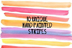 Bright Stripes Watercolor Clip Art