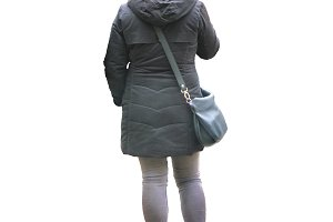 Back View Woman with Winter Clothes