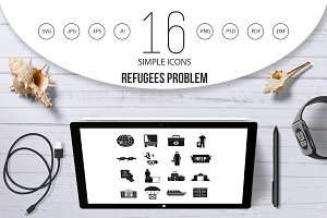 Refugees problem icons set, simple