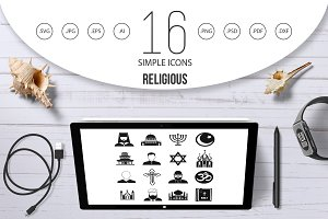 Religious symbol icons set, simple