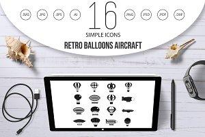 Retro balloons aircraft icons set