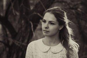 Blackwhite photo portrait of a girl