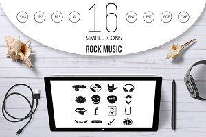 Rock music icons set, simple style
