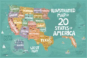 20 States of America illustrated map