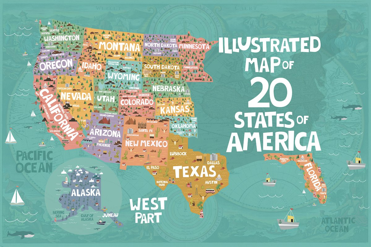 Map Of States In The Usa.20 States Of America Illustrated Map Illustrations Creative Market