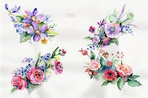 Cute bouquet flowers PNG watercolor