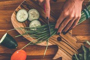 Teak Cutting Board, vegetables on
