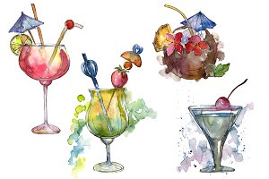 Bar party cocktail drink PNG set