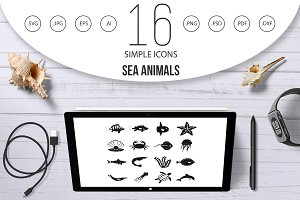 Sea animals icons set, simple style