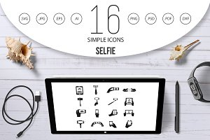 Selfie icons set, simple style