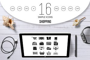 Shopping icons set, simple style