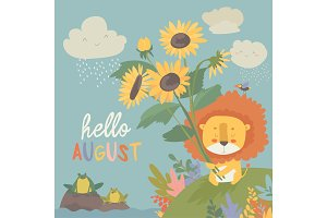 Cute little lion with sunflowers