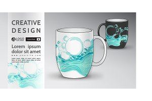 cup Mock Up vector water pattern