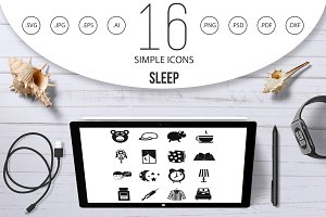 Sleep icons set, simple style