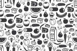 Seamless pattern with different food