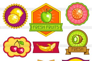 Badges and labels with fruits.