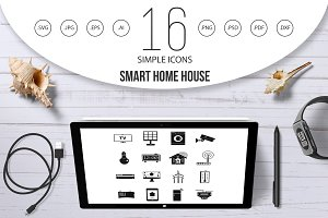 Smart home house icons set, simple