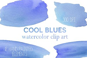 Cool Blues Watercolor Clip Art