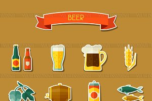 Beer sticker icons.