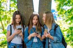 Three girls girlfriends student. In