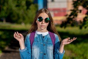 Girl schoolgirl teenager. In the