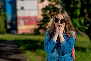 Little girl schoolgirl teenager