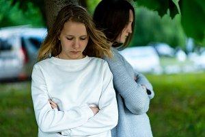 Two girls schoolgirl teenager, in