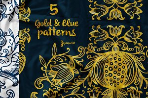 5 Hand-drawn patterns & ornaments