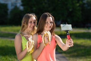Two young girls. Young bloggers and