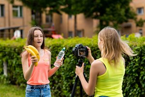 Young girls bloggers, in summer in
