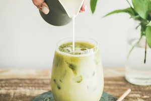 Iced matcha latte drink with milk