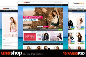 UnoShop Ecommerce PSD Theme 15 Pages