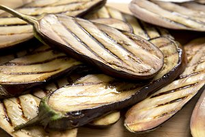Grilled eggplant on bamboo board
