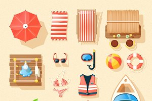 Beach vacation accessories icons