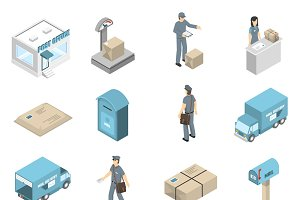 Post office service isometric icons