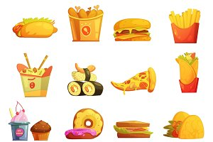 Fast food retro cartoon icons
