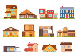Cottage and estate building icons