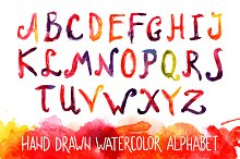 Watercolor vector alphabet