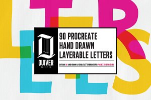 90 Hand Drawn Letters for Procreate