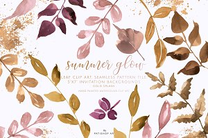 Watercolor Gold & Blush Leaf Clipart