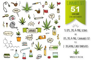 51 CANNABIS hand drawn elements!