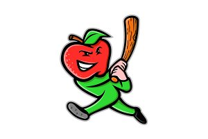 Apple Baseball Mascot